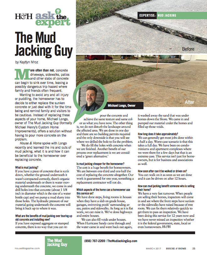 The Mudjacking Guy | Ask the Expert | H&H magazine article | June 2017