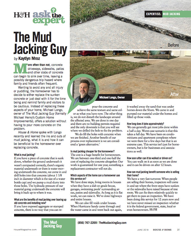 The Mudjacking Guy | Ask the Expert | H&H magazine article | June 2018